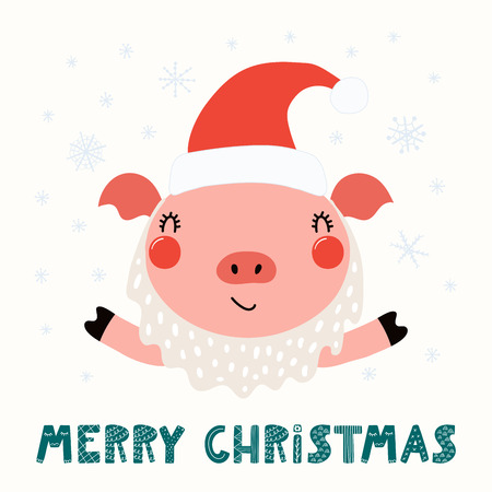 Hand drawn vector illustration of a cute funny pig in a Santa Claus hat, beard, with text Merry Christmas. Isolated objects on white background. Scandinavian style flat design. Concept card, invite.