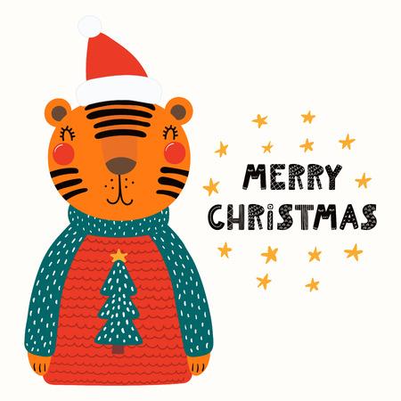 7f66bc38fe1cc Hand drawn vector illustration of a cute funny tiger in a Santa hat