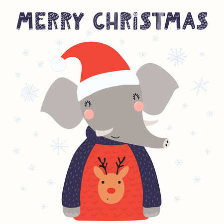 Hand drawn vector illustration of a cute funny elephant in a Santa hat, sweater, with text Merry Christmas. Isolated objects on white background. Scandinavian style flat design. Concept card, invite.