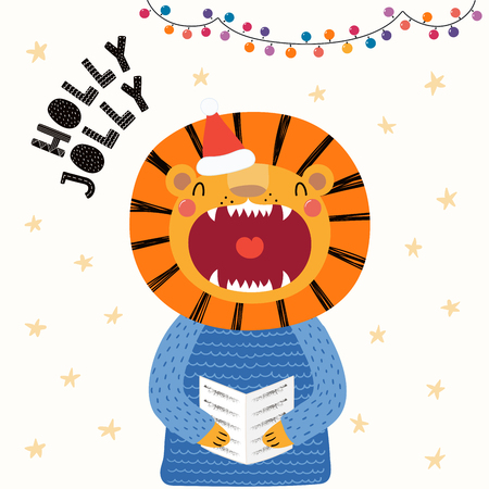 Hand drawn vector illustration of a cute lion in a Santa hat, sweater, singing carols, with text Holly Jolly. Isolated objects on white. Scandinavian style flat design. Concept Christmas card, invite. Illustration