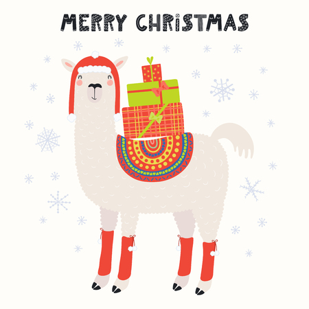 Hand drawn vector illustration of a cute funny llama in a hat, with gifts, text Merry Christmas. Isolated objects on white background. Scandinavian style flat design. Concept for card, invite. Illusztráció