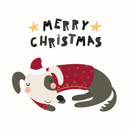 Hand drawn vector illustration of a cute funny sleeping dog in a Santa Claus hat, with text Merry Christmas. Isolated objects on white background. Scandinavian style flat design. Concept card, invite.