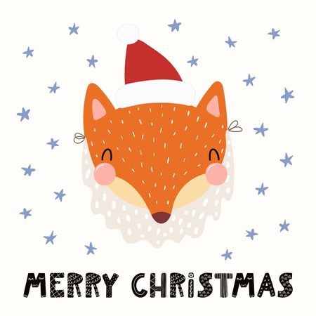 Hand drawn vector illustration of a cute funny fox in a Santa Claus hat, beard, with text Merry Christmas. Isolated objects on white background. Scandinavian style flat design. Concept card, invite. Illustration