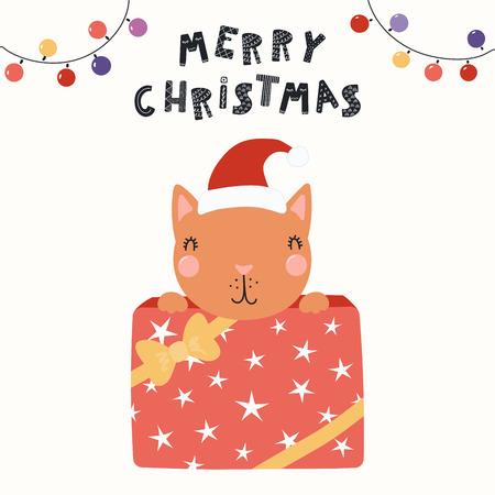 Ilustración de vector dibujado a mano de un lindo gato gracioso con un sombrero de Santa escondido en una caja de regalo, con texto Feliz Navidad. Objetos aislados en blanco. Diseño plano de estilo escandinavo. Concepto de tarjeta, invitar. Ilustración de vector