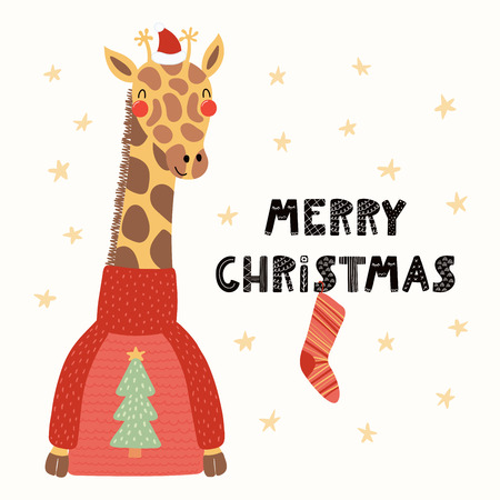 Hand drawn vector illustration of a cute funny giraffe in a Santa Claus hat, sweater, with text Merry Christmas. Isolated objects on white. Scandinavian style flat design. Concept for card, invite.