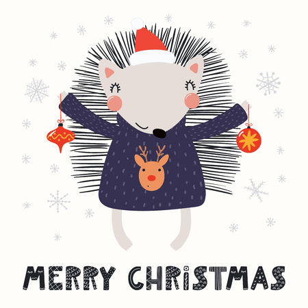 Hand drawn vector illustration of a cute funny hedgehog in a Santa hat, sweater, with ornaments, text Merry Christmas. Isolated objects on white. Scandinavian style flat design. Concept card, invite. Illustration