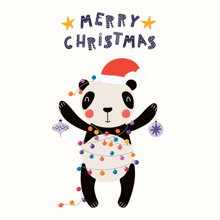 Hand drawn vector illustration of a cute funny panda in a Santa hat, with lights, ornaments, text Merry Christmas. Isolated objects on white. Scandinavian style flat design. Concept for card, invite.
