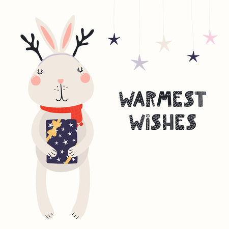 Hand drawn vector illustration of a cute funny bunny in deer antlers, scarf, with gift, text Warmest wishes. Isolated objects on white. Scandinavian style flat design. Concept Christmas card, invite.