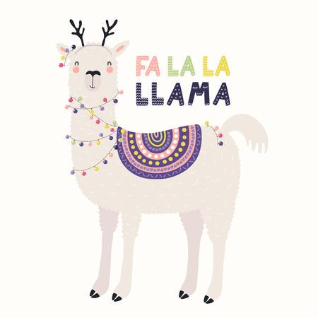 Ilustración de vector dibujado a mano de una linda llama divertida en astas de ciervo, con luces, texto Fa la la llama. Objetos aislados en blanco. Diseño plano de estilo escandinavo. Concepto de tarjeta de Navidad, invitar.