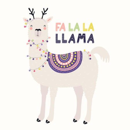 Hand drawn vector illustration of a cute funny llama in deer antlers, with lights, text Fa la la llama. Isolated objects on white. Scandinavian style flat design. Concept for Christmas card, invite.
