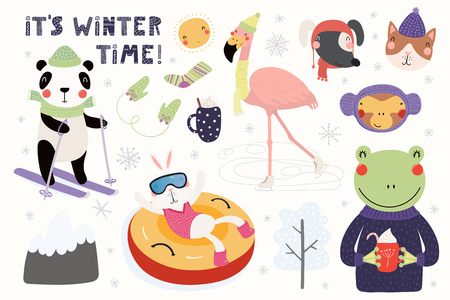 Big set with cute animals in winter, playing in the snow, skiing, tubing, skating. Isolated objects on white. Hand drawn vector illustration. Scandinavian style flat design. Concept for children print Illustration