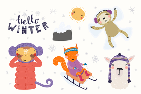 Big set with cute animals in winter, playing in the snow, sledding, making snow angel. Isolated objects on white . Hand drawn vector illustration. Scandinavian style flat design. Concept kids print.