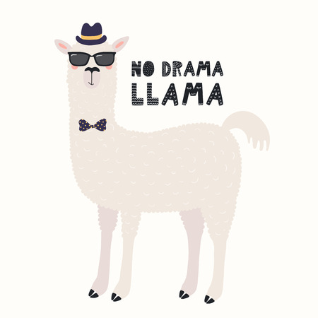 Hand drawn vector illustration of a cute funny llama in a shades, hat, bow tie, with text No drama llama. Isolated objects on white background. Scandinavian style flat design. Concept children print. Illustration