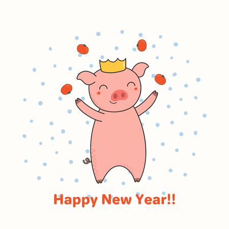 Hand drawn New Year greeting card with cute funny pig juggling tangerines, typography. Isolated objects on white background. Line drawing. Vector illustration. Design concept for party, invitation.