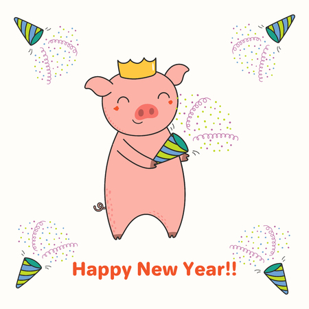 Hand drawn New Year greeting card with cute funny pig with a party popper, typography. Isolated objects on white background. Line drawing. Vector illustration. Design concept for party, invitation.