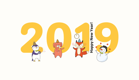 Hand drawn New Year 2019 greeting card, banner template with big numbers, cute funny animals celebrating, typography. Line drawing. Isolated objects. Vector illustration. Design concept for party. Stock Vector - 113573061