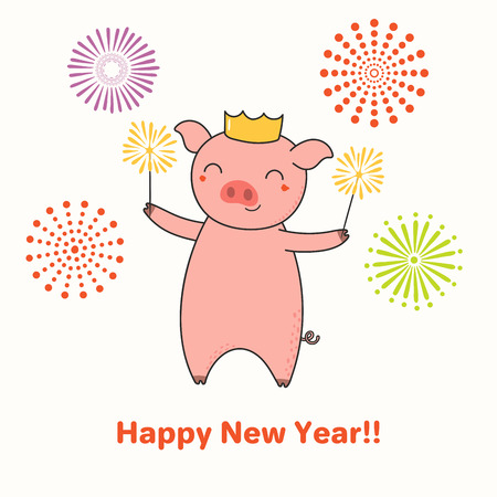 Hand drawn New Year greeting card with cute funny pig with sparklers, typography. Isolated objects on white background. Line drawing. Vector illustration. Design concept for party, invitation.