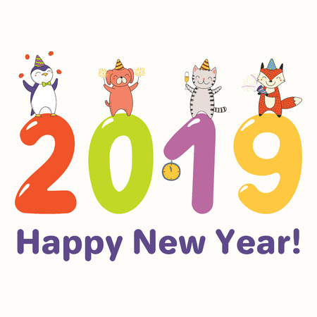 Hand drawn New Year 2019 greeting card, banner with cute funny animals standing on big numbers, celebrating, typography. Line drawing. Isolated objects. Vector illustration. Design concept for party. Illustration
