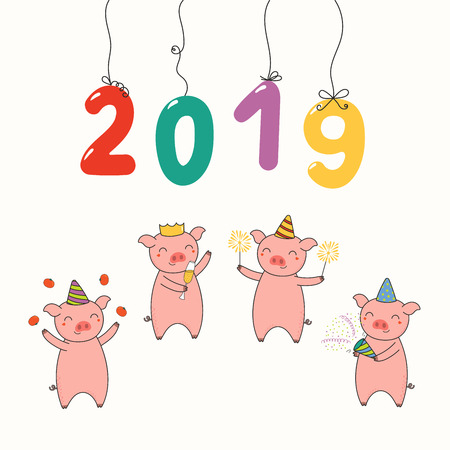 Hand drawn New Year 2019 card, banner with numbers hanging on strings, cute funny pigs celebrating. Line drawing. Isolated objects on white background. Vector illustration. Design concept for party.