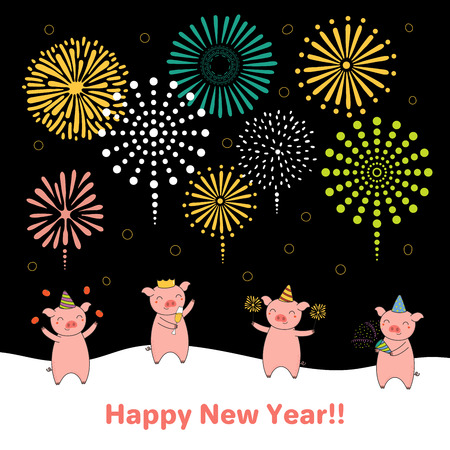Hand drawn New Year 2019 card, banner template with cute funny pigs celebrating, fireworks in the dark sky, typography. Line drawing. Isolated objects. Vector illustration. Design concept for party.