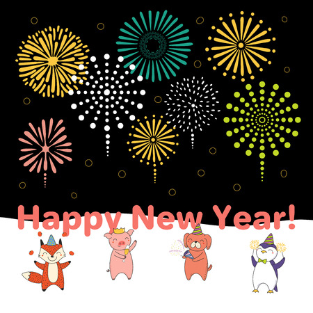 Hand drawn New Year 2019 card, banner template with cute funny animals celebrating, fireworks in the dark sky, typography. Line drawing. Isolated objects. Vector illustration. Design concept for party Stock Vector - 113573067