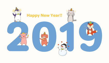 Hand drawn New Year 2019 greeting card, banner template with big numbers, cute funny animals celebrating, typography. Line drawing. Isolated objects. Vector illustration. Design concept for party.