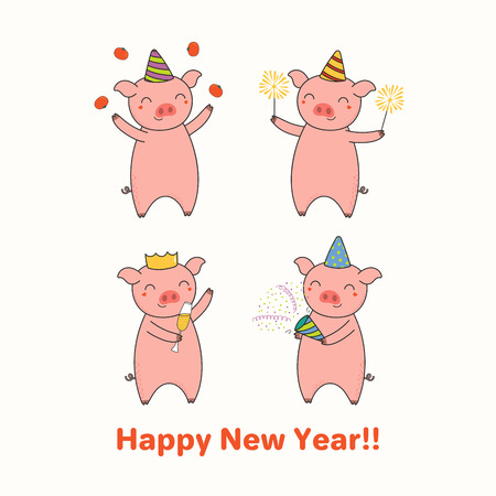 Hand drawn New Year greeting card with cute funny pigs celebrating, typography. Isolated objects on white background. Line drawing. Vector illustration. Design concept for party, invitation. Illustration