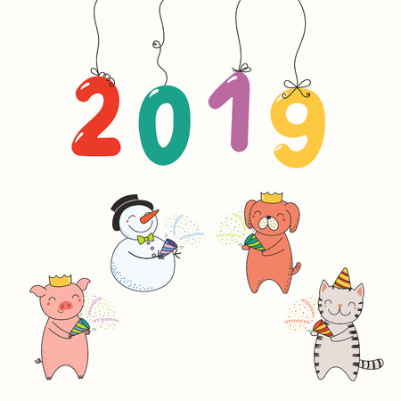 Hand drawn New Year 2019 card, banner with numbers hanging on strings, cute funny animals celebrating. Line drawing. Isolated objects on white background. Vector illustration. Design concept for party