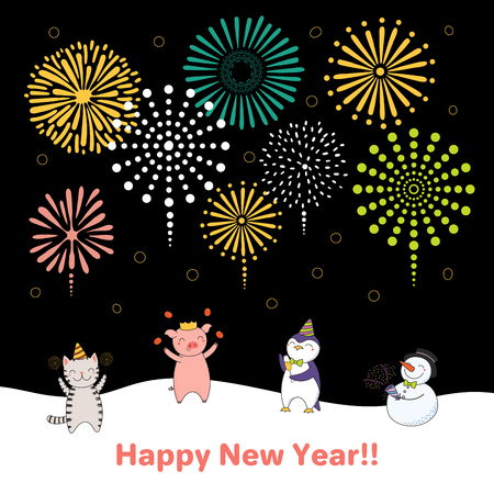 Hand drawn New Year 2019 card, banner template with cute funny animals celebrating, fireworks in the dark sky, typography. Line drawing. Isolated objects. Vector illustration. Design concept for party