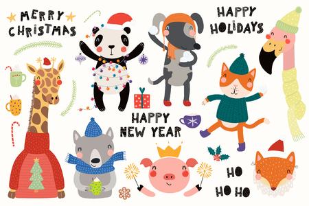 Gran conjunto con animales lindos haciendo invierno, actividades navideñas, tipografía. Objetos aislados sobre fondo blanco. Ilustración de vector dibujado a mano. Diseño plano de estilo escandinavo. Concepto para niños imprimir.