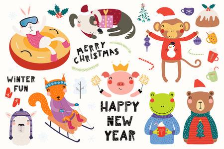 Duży zestaw z uroczymi zwierzętami robi zimę, świąteczne zajęcia, typografię. Pojedyncze obiekty na białym tle. Ręcznie rysowane ilustracji wektorowych. Płaska konstrukcja w stylu skandynawskim. Koncepcja druku dla dzieci.