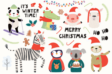 Big set with cute animals doing winter, Christmas activities, typography. Isolated objects on white background. Hand drawn vector illustration. Scandinavian style flat design. Concept for kids print. Illustration