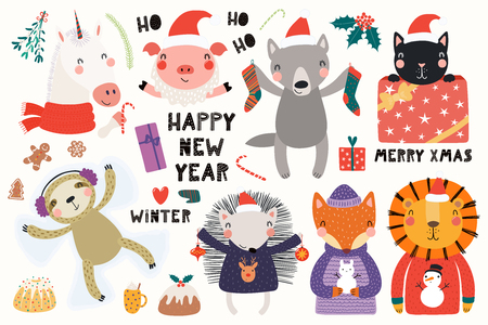 Big set with cute animals doing winter, Christmas activities, typography. Isolated objects on white background. Hand drawn vector illustration. Scandinavian style flat design. Concept for kids print. Vettoriali