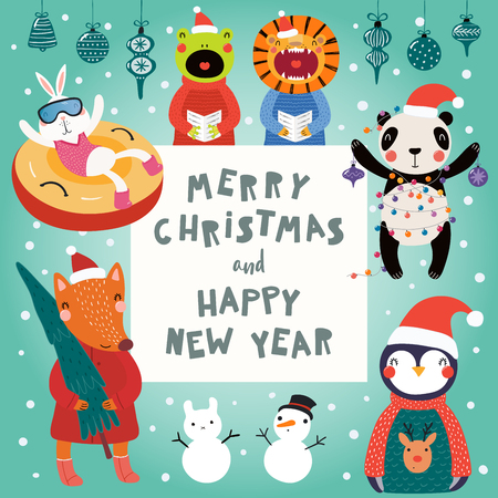 Hand drawn card with cute funny animals in Santa Claus hats, smowmen, text Merry Christmas and Happy New Year. Vector illustration. Scandinavian style flat design. Concept for children print.