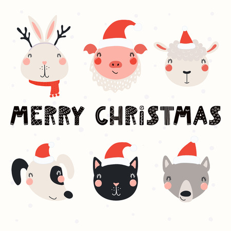 Set with cute animals in Santa Claus hats, typography. Isolated objects on white background. Hand drawn vector illustration. Scandinavian style flat design. Concept for Christmas, children print.  イラスト・ベクター素材