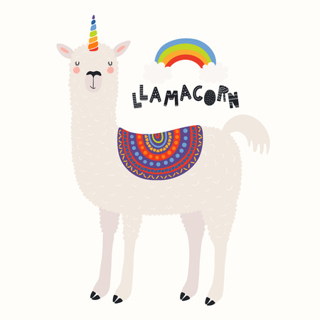 Hand drawn vector illustration of a cute funny llama with a unicorn horn, rainbow, text Llamacorn. Isolated objects on white background. Scandinavian style flat design. Concept for children print.