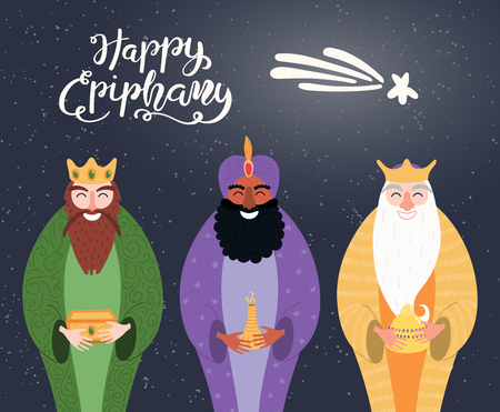 Hand drawn vector illustration of three kings of orient with gifts, star, lettering quote Happy Epiphany. Isolated objects on dark background. Flat style design. Concept, element for card, banner.