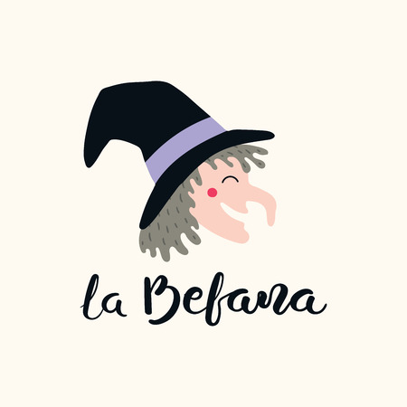 Hand written Italian lettering quote La Befana, Epiphany witch, with head drawing. Isolated objects on white background. Hand drawn vector illustration. Design concept, element for card, banner. Illustration