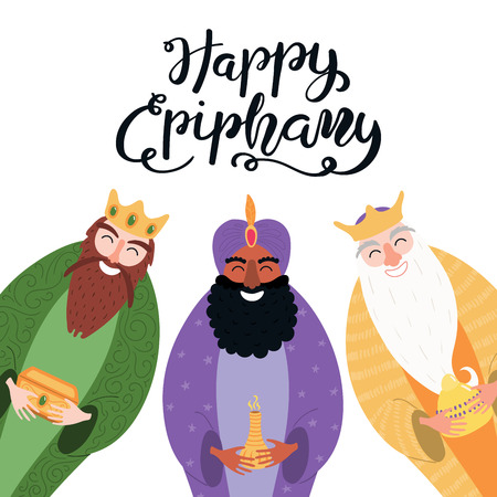 Hand drawn vector illustration of three kings of orient with gifts, star, lettering quote Happy Epiphany. Isolated objects on white background. Flat style design. Concept, element for card, banner.