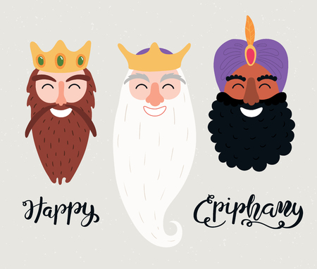 Hand drawn vector illustration of three kings of orient portraits, with lettering quote Happy Epiphany. Isolated objects on gray background. Flat style design. Concept, element for card, banner. Illustration