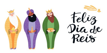 Hand drawn vector illustration of three kings with gifts, Portuguese quote Feliz Dia de Reis, Happy Kings Day. Isolated objects on white. Flat style design. Concept, element for Epiphany card, banner.