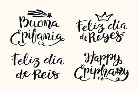 Set of hand written Epiphany lettering quotes in English, Italian, Spanish, Portuguese. Isolated objects on white background. Hand drawn vector illustration. Design concept, element for card, banner. Illustration