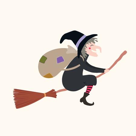 Ilustración de vector dibujado a mano de una bruja con saco volando en escoba. Objetos aislados sobre fondo blanco. Diseño de estilo plano. Tradición navideña de Italia. Concepto, elemento para la tarjeta de Epifanía, banner Ilustración de vector
