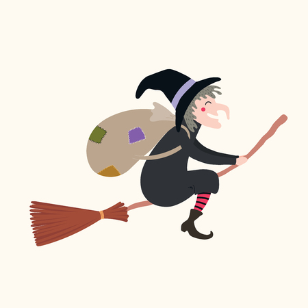 Hand drawn vector illustration of a witch with sack flying on broomstick. Isolated objects on white background. Flat style design. Italy Christmas tradition. Concept, element for Epiphany card, banner