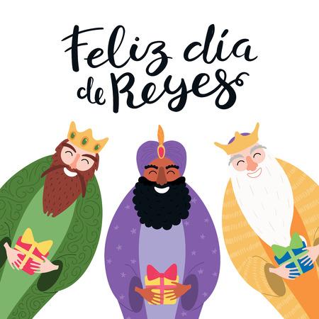 Illustrazione vettoriale disegnata a mano di tre re con doni, citazione spagnola Feliz Dia de Reyes, Happy Kings Day. Oggetti isolati su bianco. Design in stile piatto. Concetto, elemento per la carta dell'Epifania, banner.