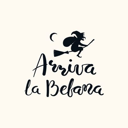 Hand written Italian lettering quote Arriva la befana, Befana arrives, with flying witch. Isolated objects on white. Hand drawn vector illustration. Design concept, element for Epiphany card, banner. Illustration