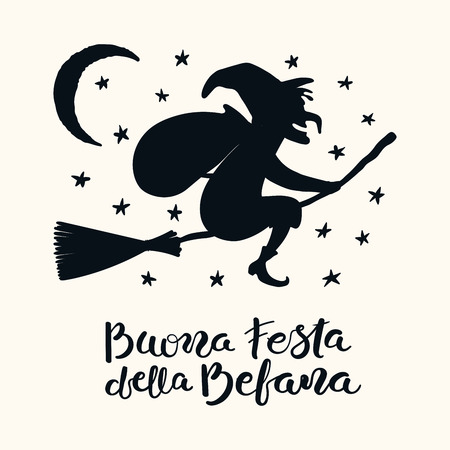 Hand written Italian lettering quote Buona Festa della Befana, Happy Epiphany, with flying witch. Isolated objects on white. Hand drawn vector illustration. Design concept, element for card, banner. Illustration