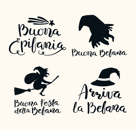 Set of hand written Epiphany lettering quotes in Italian, with witch, comet. Isolated objects on white background. Hand drawn vector illustration. Design concept, element for card, banner. Illustration