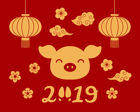 2019 Chinese New Year greeting card with cute pig face, lanterns, clouds, flowers, numbers with hoof print, gold on red. Vector illustration. Design concept for holiday banner, decorative element. Illustration