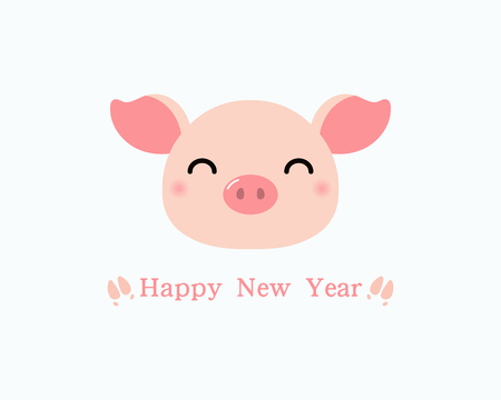 2019 Chinese New Year greeting card with cute pig head, hoof print, text. Isolated objectson on white background. Vector illustration. Design concept holiday banner, decorative element. Illustration